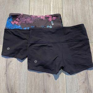 Lululemon 2 pairs size 2 boogie shorts spandex